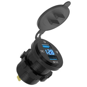 4 2a Dual Usb Charger Socket Blue Voltage Voltmeter For All Car Boat Truck Autos