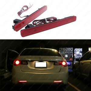 2pcs Red Lens 48 smd Led Bumper Reflector Marker Lights For 2009 2014 Acura Tsx
