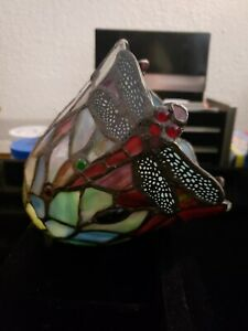 Vintage Tiffany Style Art Stained Glass Dragonfly Lamp Shade
