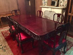 Beautiful Chinese Rosewood Dining Table With 6 Chairs Near Mint Pickup In Nj