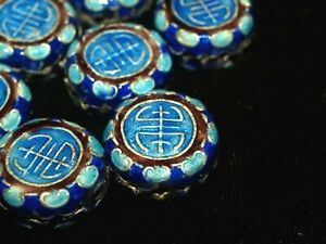 One Vintage Chinese Bead Cloisonne Canton Enamel Silver Blue Shou 16mm Round