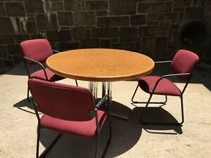 Lot Of 7 4 Round Wood Cafeteria Tables And 1 Cocktail Table And 21 Chairs