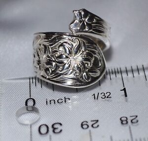 Frank Whiting Lily Repousse Sterling Silver Spoon Ring Free Shipping