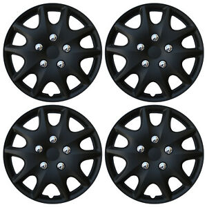 4 Pc Set Hub Caps Abs Black 14 Inch Rim Wheel Skin Hubcaps Cover Center Cap