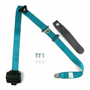3 Point Electric Blue Retractable Seat Belt With Bolts Rat Rods Streets Rods