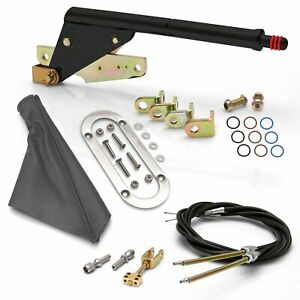 Floor Mount Black Emergency Parking Brakegray Boot Chrome Ring And Cable Kit