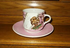Xtra Large White Pink Gold Cup And Saucer Made In Germany