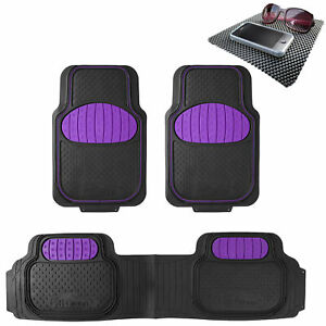 Floor Mats 3pc Full Set For Auto Car Sedan Suv Van Purple Black W Free Dash Mat