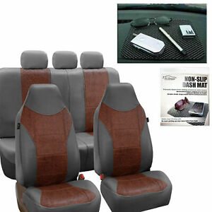Faux Leather Gray Brown Sear Covers For Auto Highback Seat Dash Pad