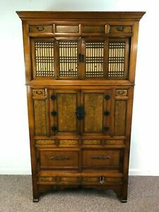 Antique Korean 2 Part Elm Wedding Chest Cabinet