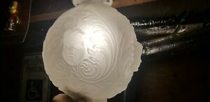1900s French Fogged Glass Cherub Sconce Mint Condition Gorgeous Piece Antique