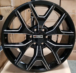 26 Gmc Sierra Replica Wheels Black Milled Rims Tires Silverado Yukon Denali