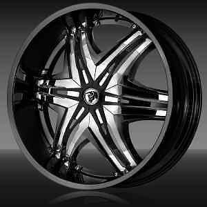 24 Diablo Elite Black Wheels Rim 325 45 24 Tires 8 Lug Hummer H2 Chevy Dodge 26