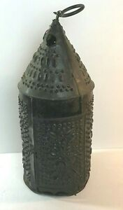 Antique Folk Art Punched Tin 19th Century Candle Lantern Sunburst Pattern Rare