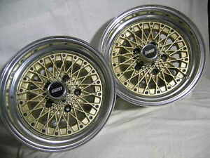 Enkei 7x14 Apache Iv Gold mesh bbs style Wheels One Pair 5 On 4 75 120 65