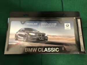 Bmw Classic Etched Black License Plate Frame