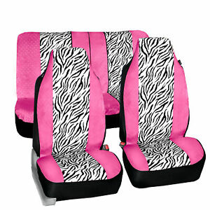 Universal Highback Seat Covers Full Set Pink White Zebra Design For Suv