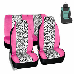 Universal Highback Seat Covers Full Set Pink White Zebra For Car W Gift