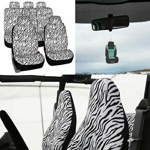 Universal Fit Highback Full Set Seat Covers White Zebra For Auto W Gift