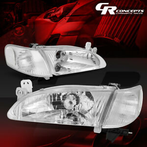Pair Chrome Housing Clear Corner Headlight Headlamps For 98 00 Toyota Corolla