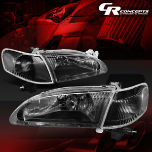 Pair Black Housing Clear Corner Headlight Headlamps For 98 00 Toyota Corolla