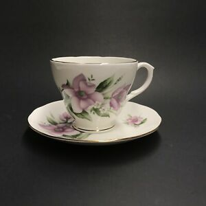 Vintage Duchess Bone China Tea Cup And Saucer Sea Anemone Purple Flowers Gift