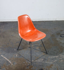 Mid Century Modern Side Chair Fiberglass Shell Orange Red Herman Miller Eames M