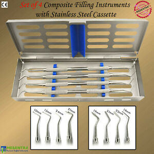 Medentra Professional Dental Composite Filling Instruments Set Of 4 With Tray