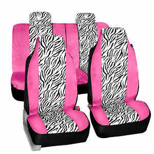 Universal Fit Highback Seat Covers Full Set Pink White Zebra Design For Suv