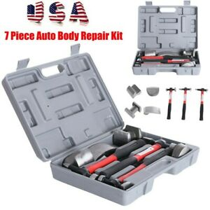 7pc Fiberglass Auto Body Repair Tools Fender Tool Kit Hammer Dolly Dent Bender A