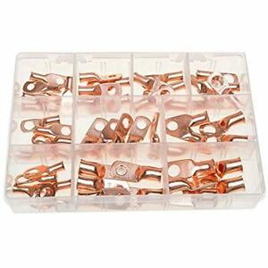 Terrans 50pcs 10types Heavy Duty Wire Lugs Battery Cable Closed Ends Bare Copper
