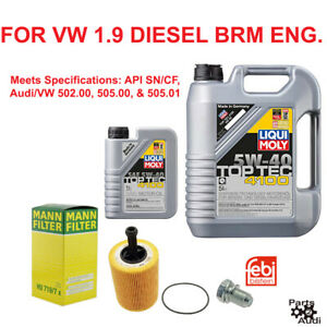 Liqui Moly Engine Oil Change Kit For Vw Jetta 1 9l Diesel Brm Engines