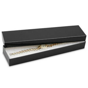 100 Boxes 8x2x1 Black Gloss Jewelry Long Gift Box Watch Packing Cotton Filled