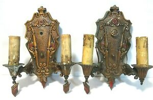 Set Of 2 Vintage Wall Mount Double Sconce Candle Lamp Light Fixture W Shield