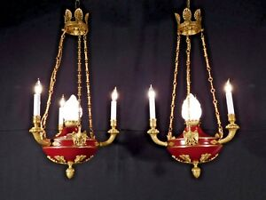 Antique 3 Arm 4 Light French Empire Flame Eagle Chandelier Pair Available