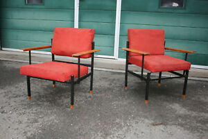 Carl Aubock Auboeck Pair Very Rare Chairs 1960