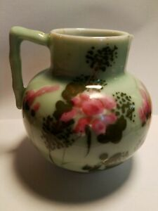 Antique Japanese Meiji Seto Celadon Porcelain Pitcher