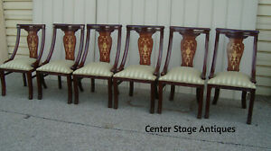 59287 Set 6 Quality Inlaid Dining Chairs Chair S