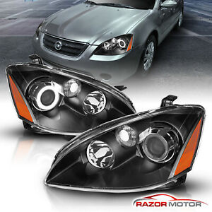 ccfl Halo For 2002 2003 2004 Nissan Altima Projector Black Headlights Pair