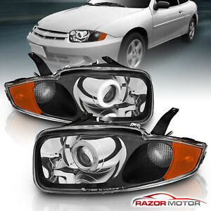 2003 2004 2005 Chevy Cavalier Led Halo Chrome Projector Headlights Pair