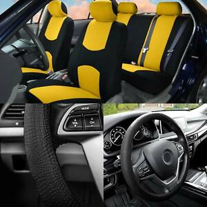 Full Cover Set Bucket Covers Solid Bench Yellow W silicone Steering Cover