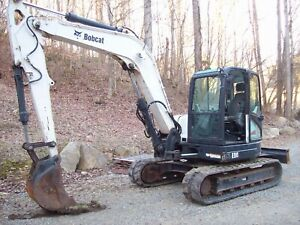 2011 Bobcat E80 Mini Excavator Aux Hydraulic Enclosed Cab Heat Ac Rubber Tracks