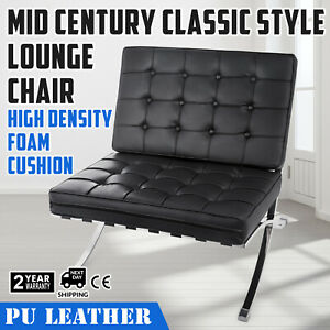 Mid Century Modern Classic Leather Lounge Chair Black Optimal Stainless Steel