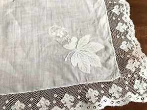 Gorgeous Antique Hand Embroidered Initial Letters Abs Lace Handkerchief 15x15