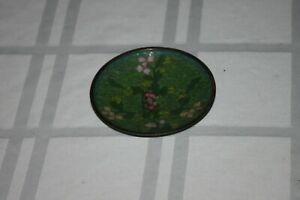 Early Handmade Chinese Cloisonne Plate Brass Rim China Green Small Plate 3 7 8
