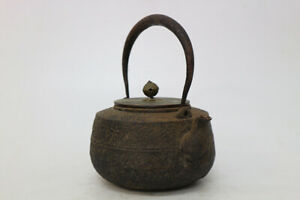 Age Iron Jar Copper Lid Rock Face Keitetsu Amber Sencha Utensil A 531