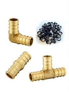 130 Pcs 1 2 Pex Crimp Fittings With Copper Rings certified Lead Free Brass