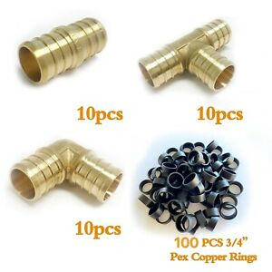 130 Pcs 3 4 Pex Crimp Fittings With Copper Rings certified Lead Free Brass