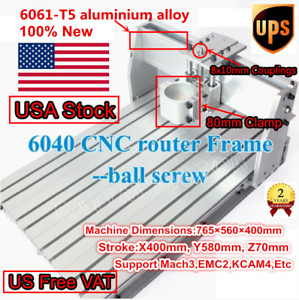 usa Desktop 6040 Gantry Ball Screw Cnc Router Milling Machine Frame 80mm Clamp