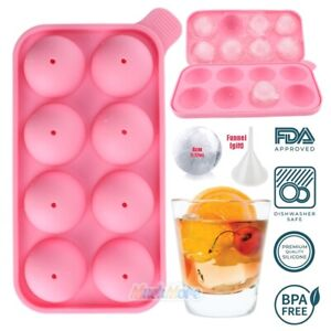 Pink Round Silicon Ice Cube Ball Maker Tray 8 Large Sphere Molds Bar Funnel Us